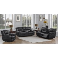 LEE MOTION COLLECTION - Lee Transitional Black Leather Reclining Three-Piece Living Room Set