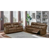 DAMIANO MOTION COLLECTION - Zimmerman Brown Faux Leather Two-Piece Living Room Set