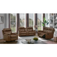 DAMIANO MOTION COLLECTION - Zimmerman Brown Faux Leather Three-Piece Living Room Set
