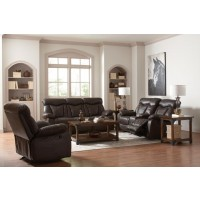 ZIMMERMAN MOTION COLLECTION - Zimmerman Dark Brown Faux Leather Three-Piece Living Room Set