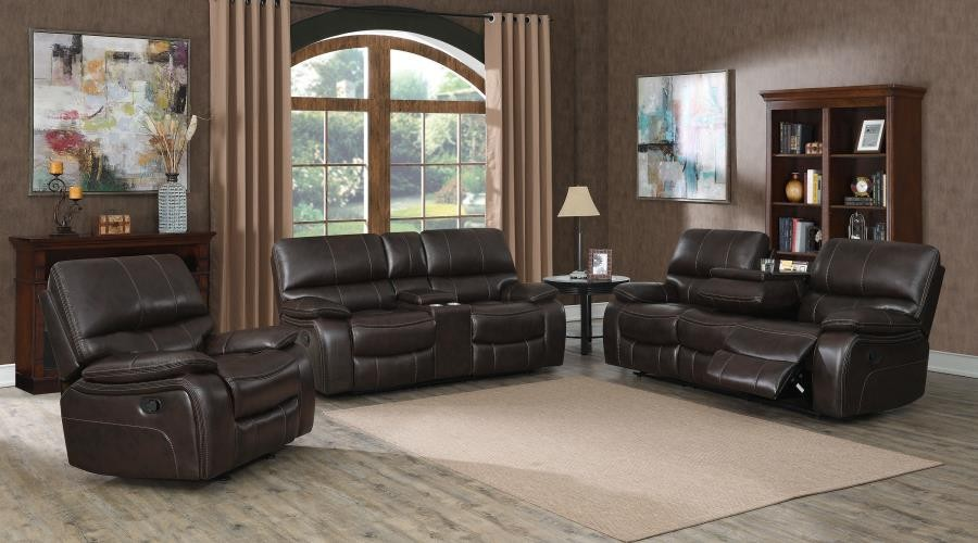 WILLEMSE MOTION COLLECTION - Willemse Chocolate Reclining Three-Piece Living Room Set