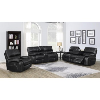 WILLEMSE MOTION COLLECTION - Willemse Dark Brown Reclining Three-Piece Living Room Set
