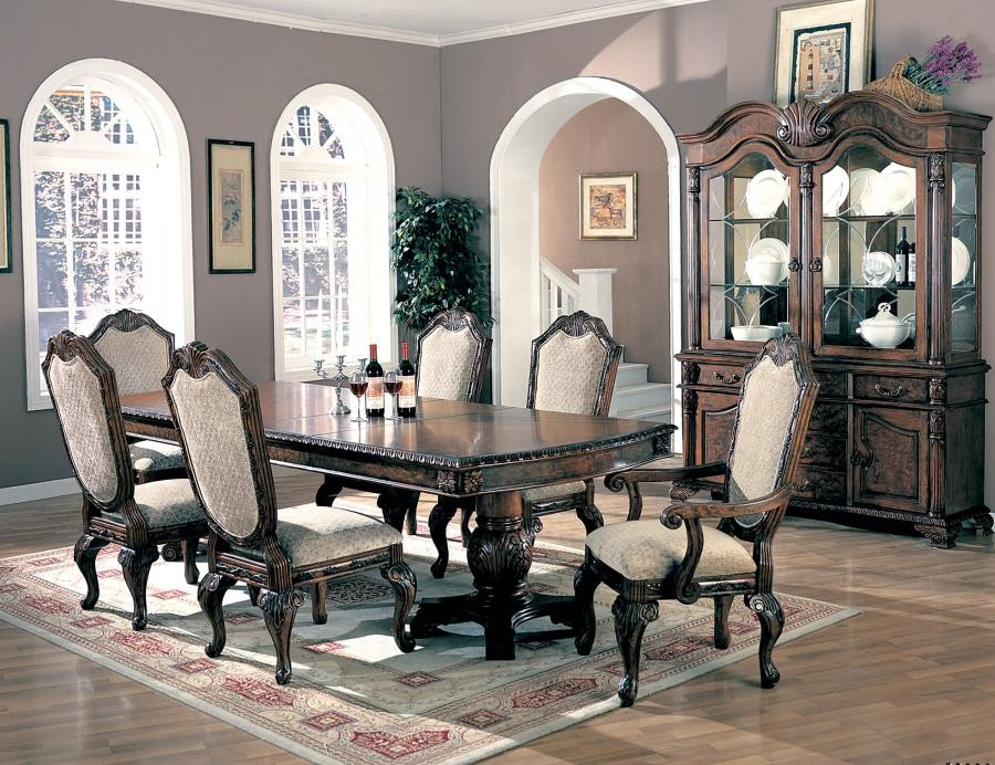 Saint Charles Traditional Brown Seven-Piece Dining Set