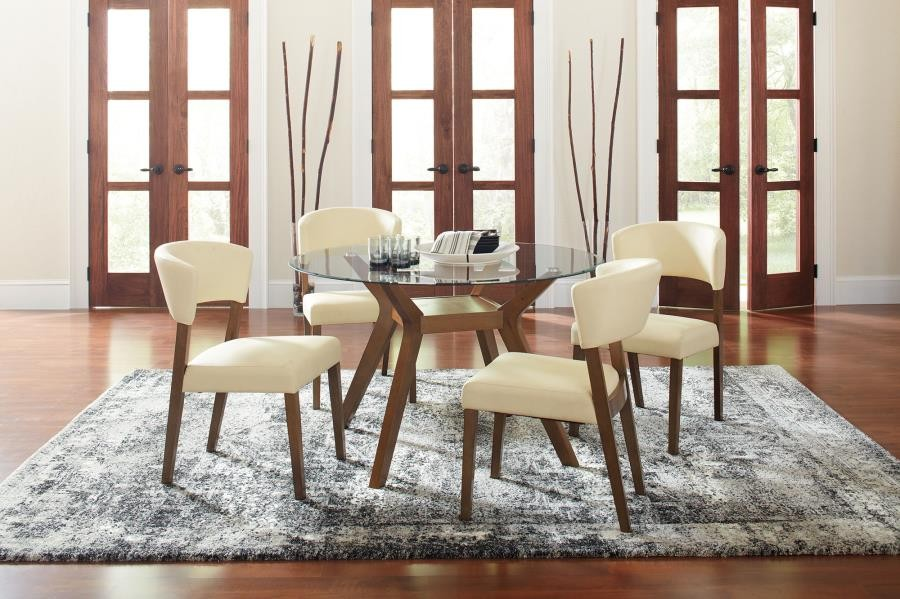 Paxton Mid Century Modern Glass Five Piece Dining Table Set 122180