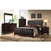 Carlton Cappuccino Upholstered Queen Four-Piece Bedroom Set