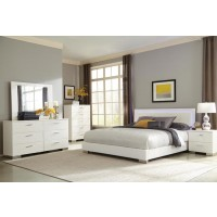 Felicity Contemporary White and High Gloss Queen Four-Piece Set