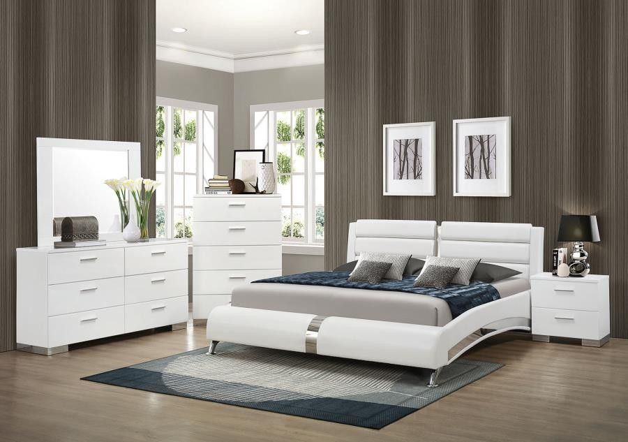 Felicity Contemporary White California King Four Piece Set