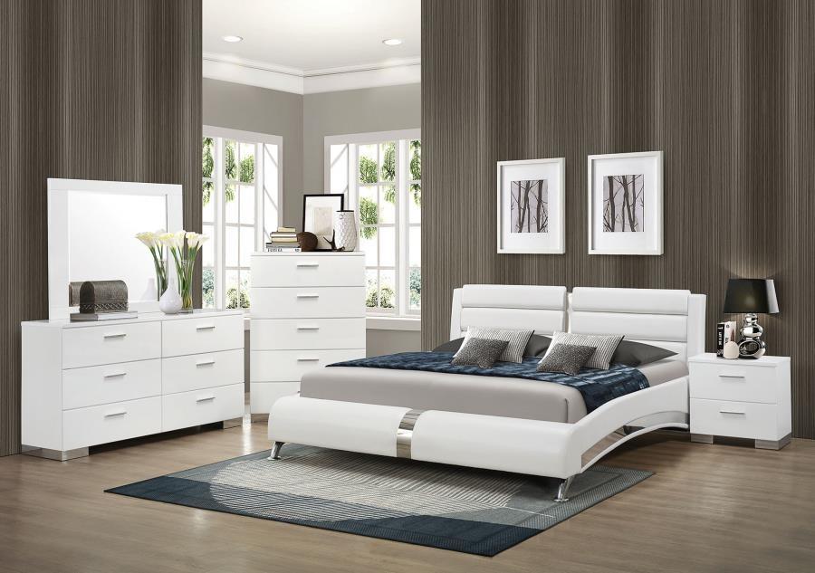 Felicity Contemporary White California King Four-Piece Set