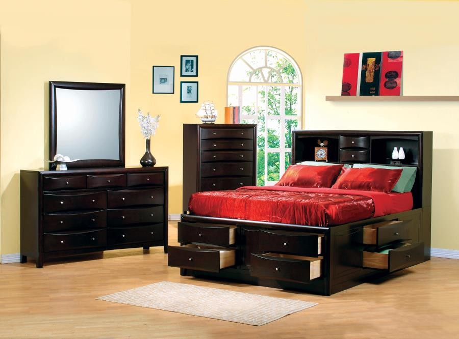 Phoenix Cappuccino California King Five-Piece Bedroom Set | 200409KW ...
