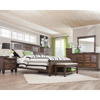 Franco Burnished Oak King Four-Piece Bedroom Set