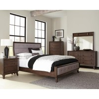 Bingham Retro-Modern Brown Upholstered Queen Four-Piece Bedroom Set