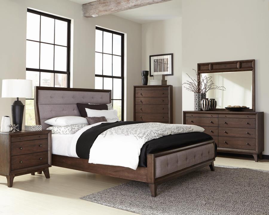 Bingham Retro-Modern Brown Upholstered Queen Five-Piece Bedroom Set