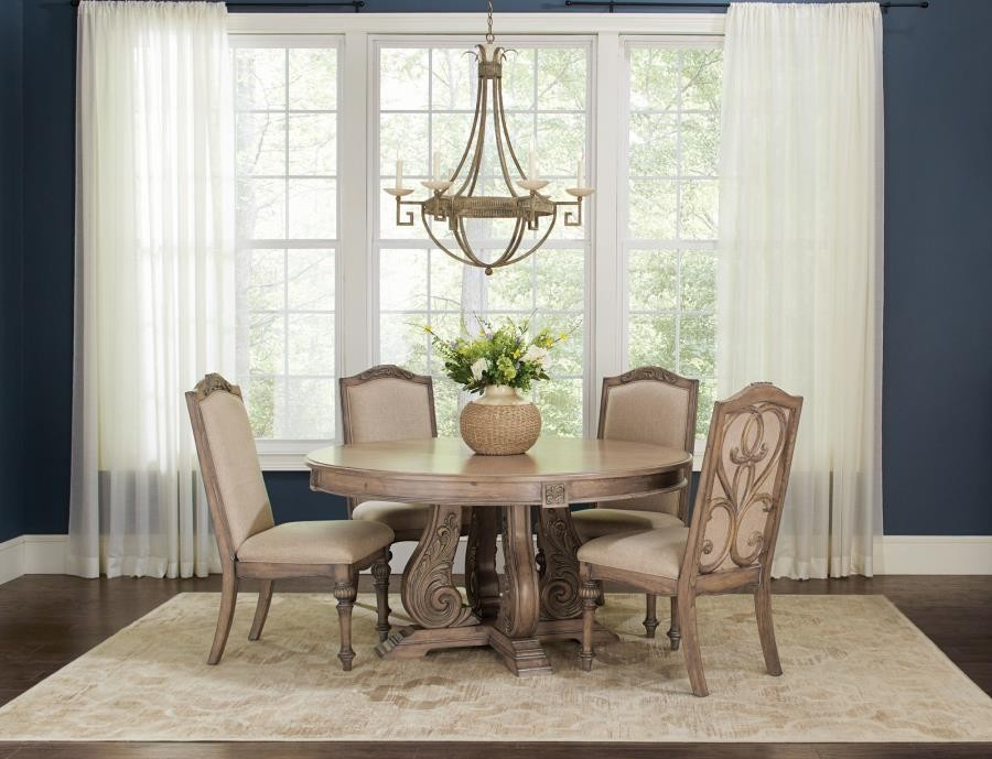 Ilana Traditional Round Formal Five Piece Dining Table Set 122210