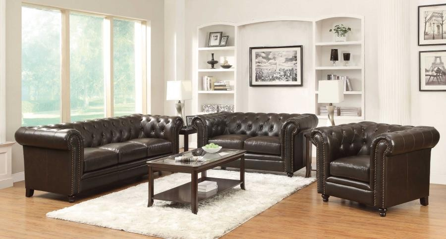 Roy Traditional Brown Two Piece Living Room Set