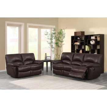 CLIFFORD MOTION COLLECTION - Clifford Motion Dark Brown Reclining Two-Piece Living Room Set