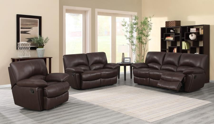 CLIFFORD MOTION COLLECTION - Clifford Motion Dark Brown Reclining Three-Piece Living Room Set