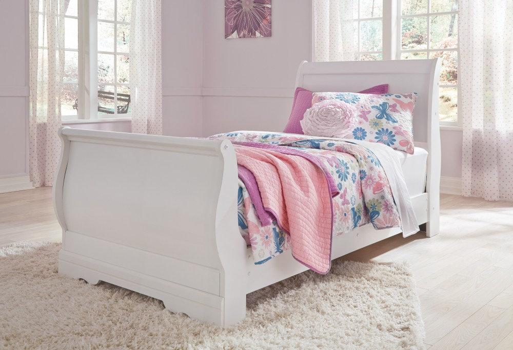 Anarasia - White - Twin Sleigh Rails | B129-82 | Bed Frame | Urban ...