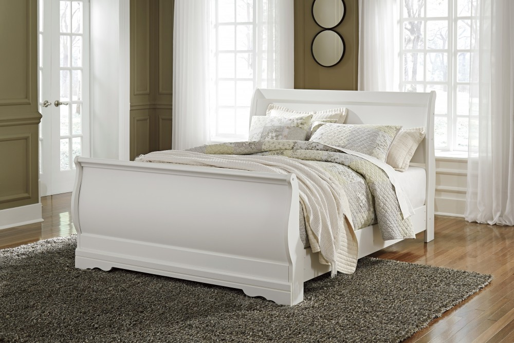 Anarasia - White - Queen Sleigh Rails | B129-98 | Bed Frames ...