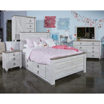 Willowton - Whitewash - Twin Panel Headboard