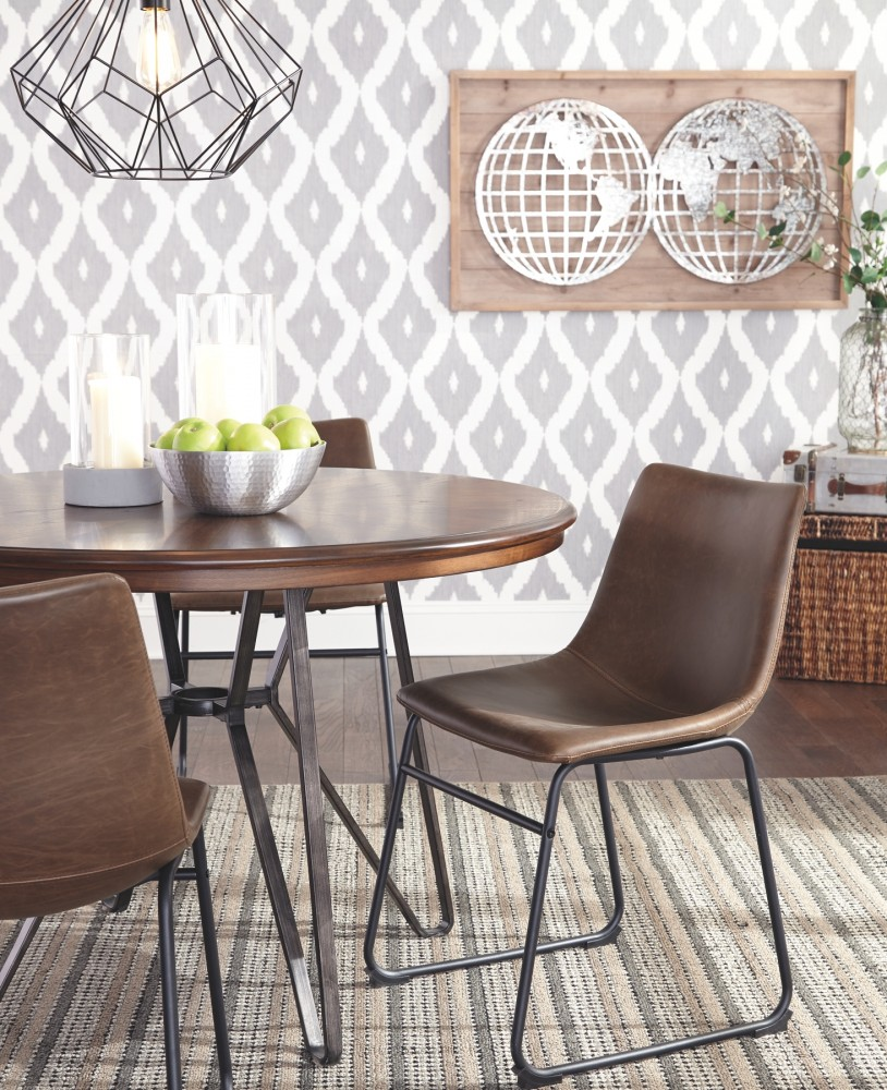 Centiar Two Tone Brown Round Dining Room Table D372