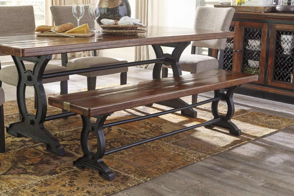 Zurani BrownBlack Large Dining Room Bench D70900 Benches