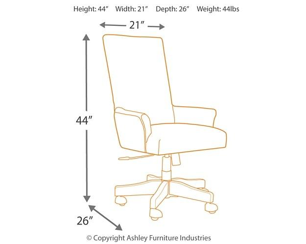 Baldridge Rustic Brown Uph Swivel Desk Chair H675