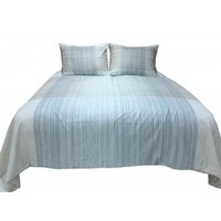 Jenae - Blue/Brown - Queen Duvet Cover Set