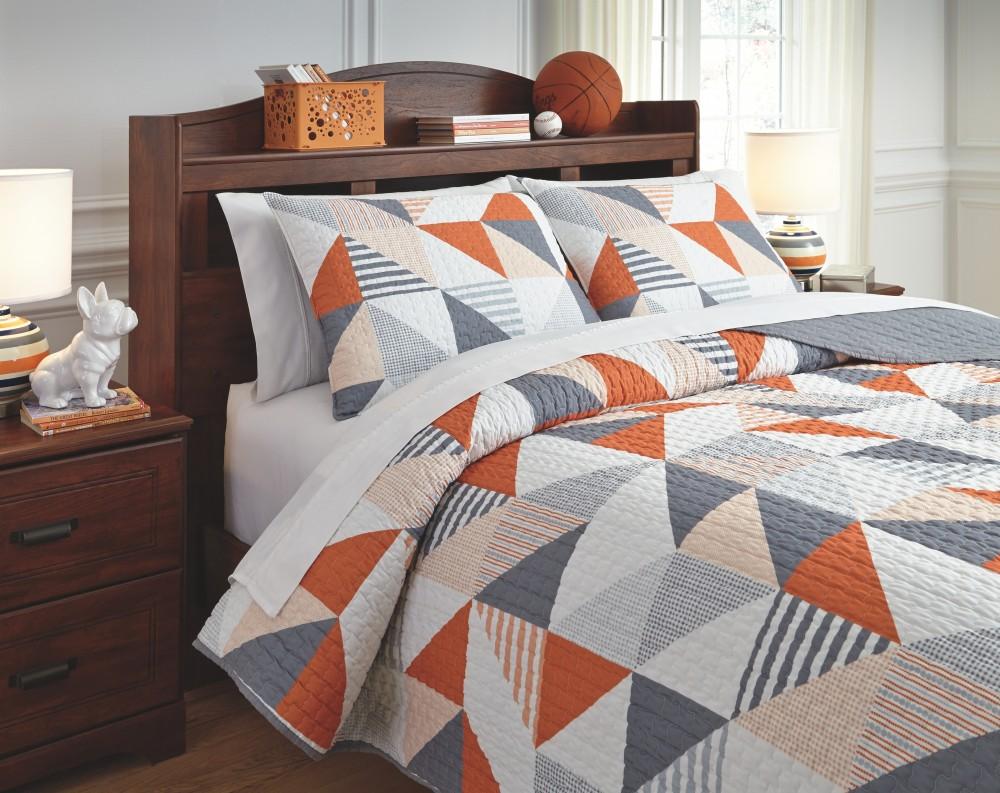 Layne - Gray/Orange - Full Coverlet Set