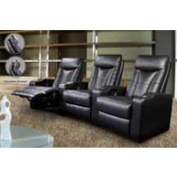 PAVILLION HOME THEATER COLLECTION - Pavillion Black Leather Three-Seated Recliner