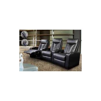 PAVILLION HOME THEATER COLLECTION - Pavillion Black Leather Four-Seated Recliner