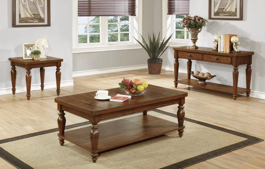 Warm Brown Occasional Tables Set of Three