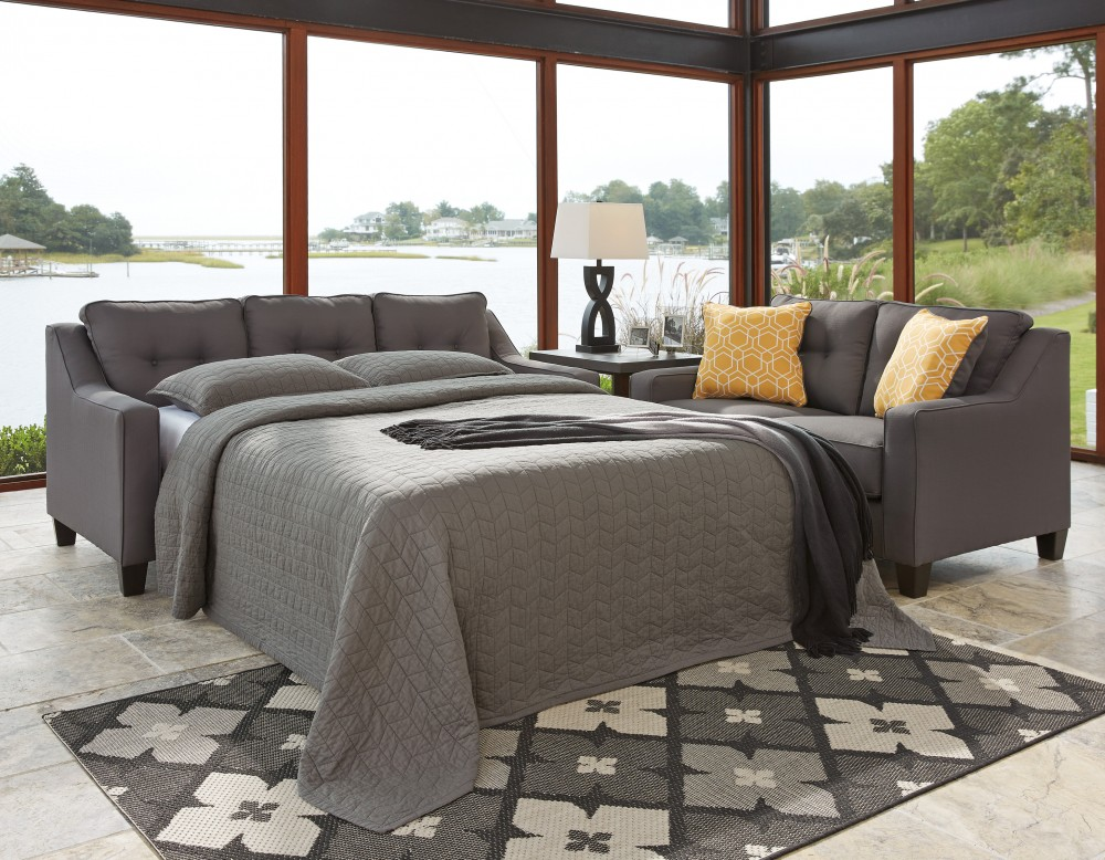 Outstanding Aldie Nuvella Gray Queen Sofa Chaise Sleeper Home Interior And Landscaping Ologienasavecom