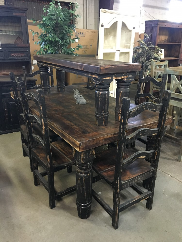 Rustic Canyon Black 7pc Dinette Mes 13 Sil O3 Dining