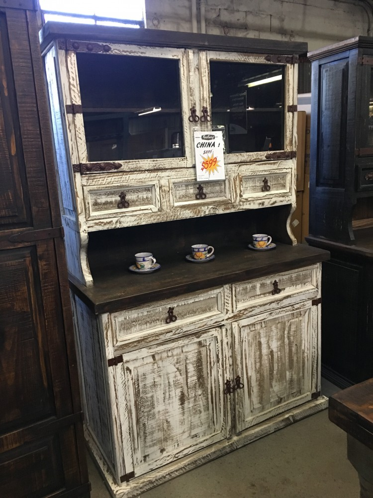 Rustic Canyon Distressed White China Cabinet Vit 10 White China
