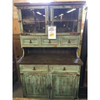Rustic Canyon Distressed Turquoise China Cabinet