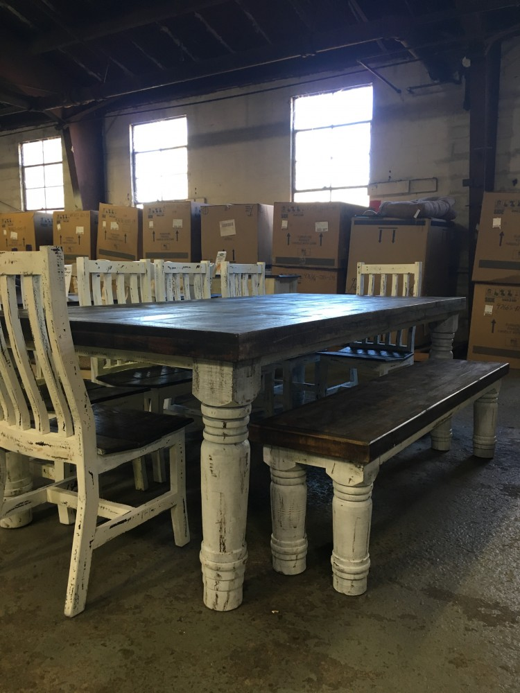 Rustic Canyon 8pc White Distressed Dinette Mes 15 Sil 06
