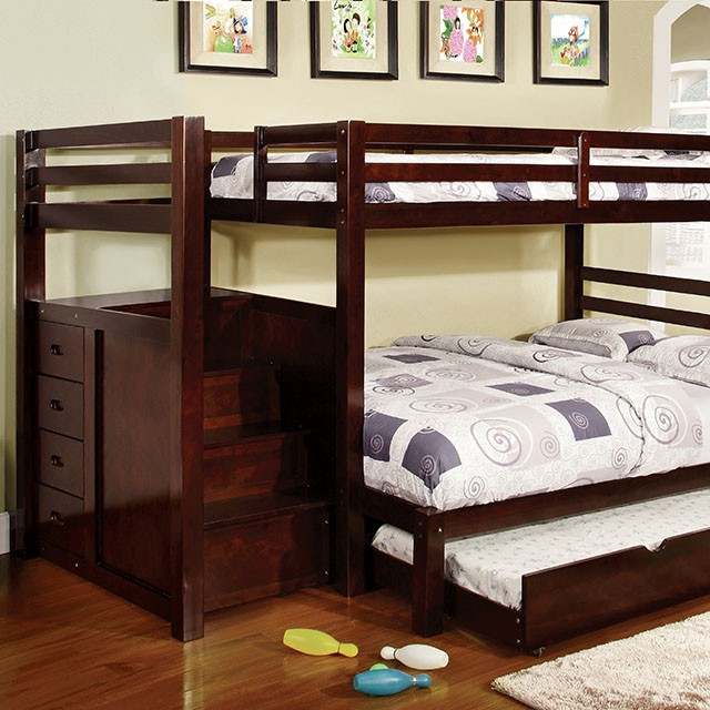 PINE RIDGE TWIN/FULL BUNK BED W/ STEPS & DRAWERS