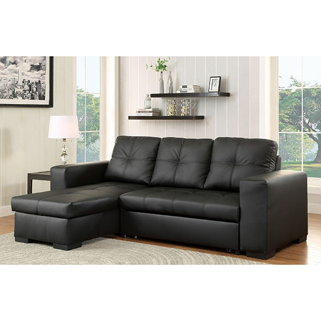 Enjoyable Denton Sectional Black Bonded Leather Match Ocoug Best Dining Table And Chair Ideas Images Ocougorg