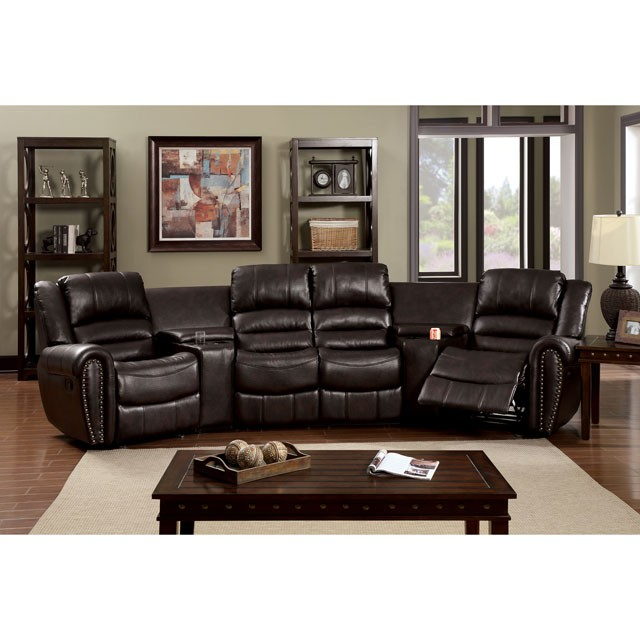 Living Room Theater Reviews: WASHBURN HOME THEATRE SECTIONAL W/ 2 GLIDER RECLINERS