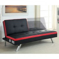 HARLEY LEATHERETTE FUTON SOFA, BLACK & RED