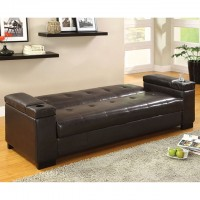 LOGAN LEATHERETTE FUTON SOFA W/ STORAGE