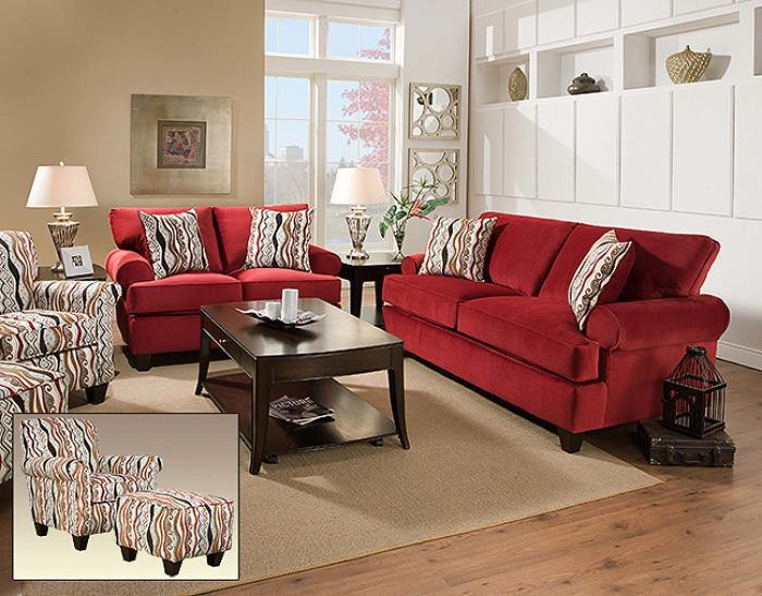 Jackpot Red Sofa And Loveseat
