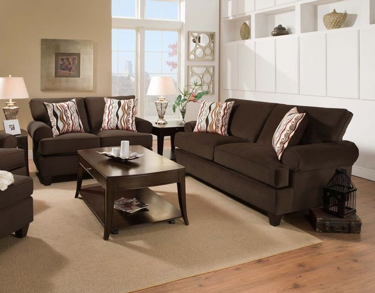 Jackpot Chocolate Sofa and Loveseat