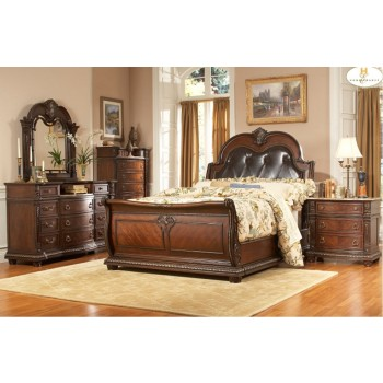 Palace Bedroom Set - Dark Cherry
