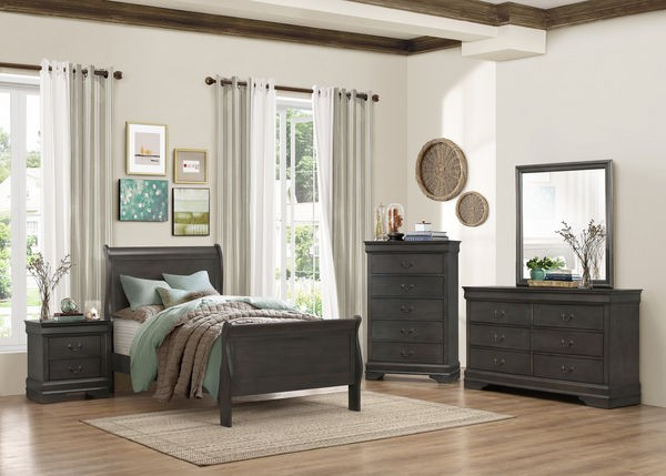 Louis Philippe Bedroom Set   Stained Grey