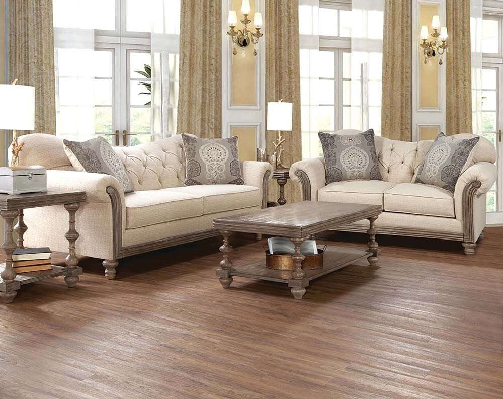 Parchment Tufted Sofa and Loveseat