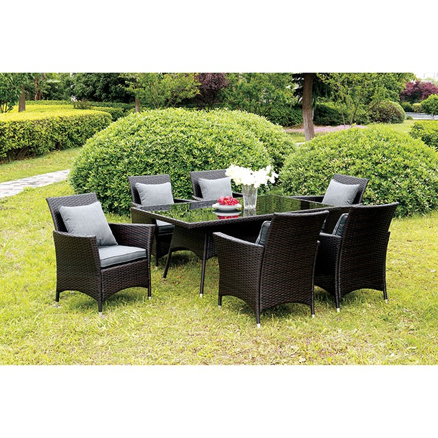 Leodore 7 Pc Patio Dining Set W Arm Chairs Gray Outdoor Seating