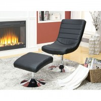 VALERIE LOUNGE CHAIR W/ OTTOMAN, BLACK