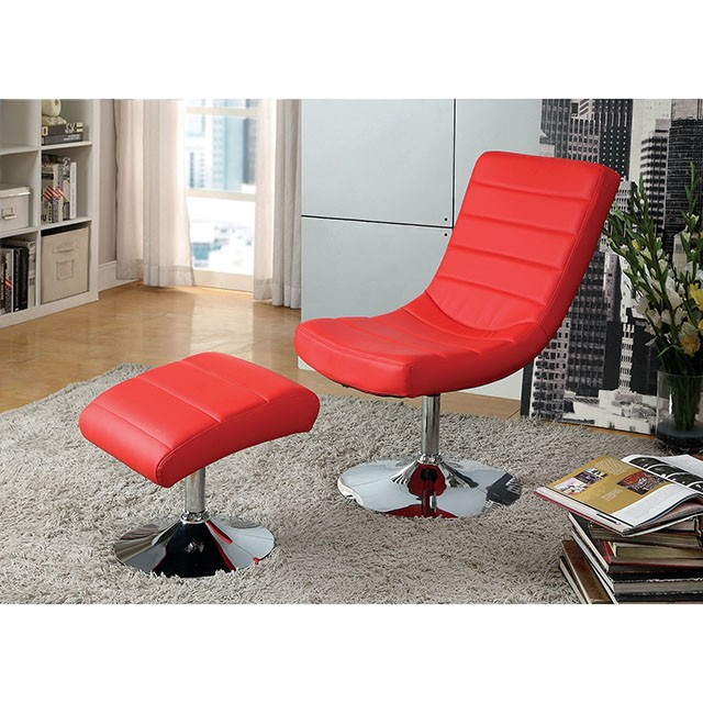 VALERIE LOUNGE CHAIR W/ OTTOMAN, RED