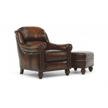 Wayne Leather or Fabric Chair and Ottoman
